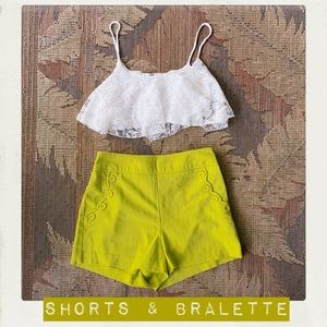 Green Shorts & Lace Bralette